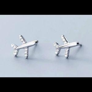 Sterling silver airplane earrings